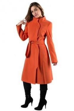 154be145de0 14-0013-51 Пальто женское демисезонное (пояс) Кашемир Ярко-оранжевый