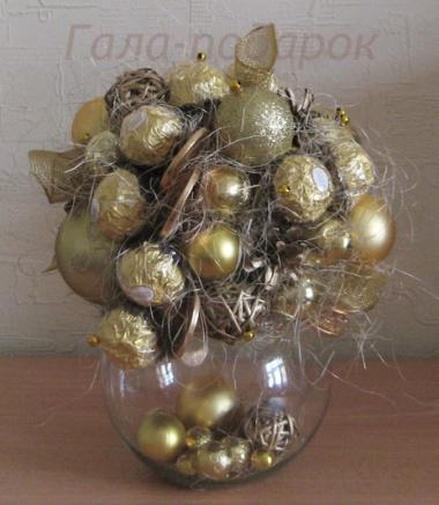 Новогодние шары из конфет своими руками 89