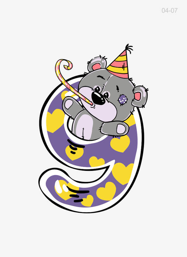Картинки из цифр с мишкой