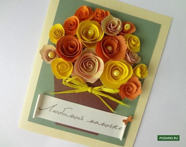 Открытки с цветами своими руками из бумаги видео